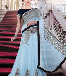 Buy Sky blue embroidered georgette saree with blouse one-minute-saree online