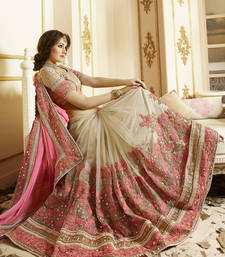 Buy Light pink embroidered chiffon saree with blouse wedding-saree online
