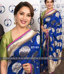 Buy Blue embroidered nylon saree with blouse madhuri-dixit-saree online