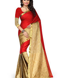 Buy Red plain cotton silk saree with blouse below-300 online