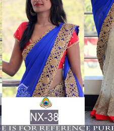 Buy Blue embroidered georgette saree with blouse below-300 online