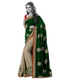 Buy Hypnotex Green Cream Velvet Georgette Saree Nayan5354 velvet-saree online