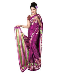Buy Wine printed crepe saree with blouse crepe-saree online