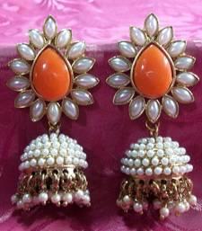 Buy Aashiqui 2 earrings Orange polki pearls jhumka earrings jhumka online