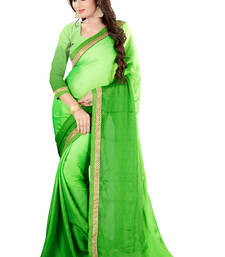 Buy Green printed chiffon saree with blouse cotton-saree online