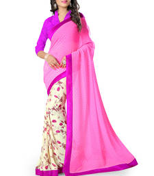 Buy Pink printed chiffon saree with blouse cotton-saree online