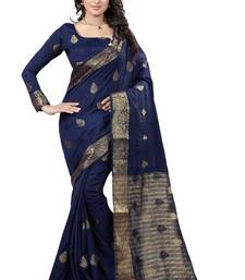 Buy Navy blue embroidered art silk saree with blouse art-silk-saree online