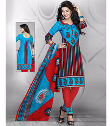 Buy multicolor printed cotton unstitched slawar with dupatta online