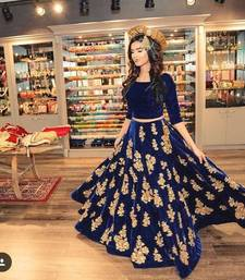 Buy Blue embroidered georgette unstitched lehenga-choli ghagra-choli online