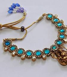 Buy Polki Kundan Stone Lakshmi - Sea Blue Necklace Set necklace-set online