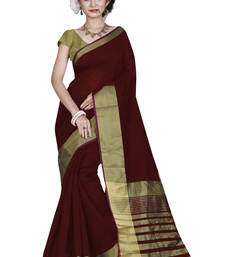 Buy Maroon printed cotton silk saree with blouse cotton-saree online