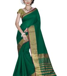 Buy Green printed cotton silk saree with blouse cotton-saree online
