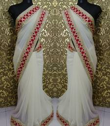 Buy white printed georgette saree with blouse sonam-kapoor-saree online
