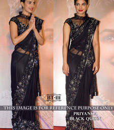 Buy Black embroidered net saree with blouse south-indian-saree online