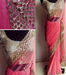 Buy Pink embroidered nylon saree with blouse south-indian-saree online