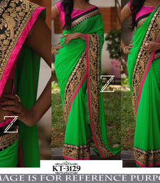 Buy Parrot green embroidered georgette saree with blouse bengali-saree online