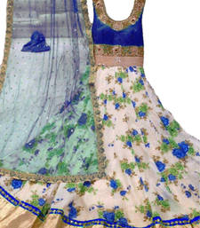 Buy Blue Silk SEMI STITCHED STRAIGHT CUT LEHENGA semi-stitched-salwar-suit online