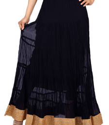 Buy Navy blue chiffon plain free size skirts long-skirt online