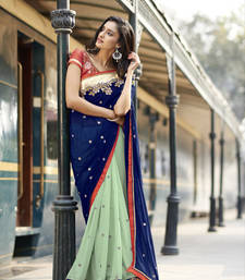 Buy Blue and green embroidered georgette saree with blouse wedding-saree online