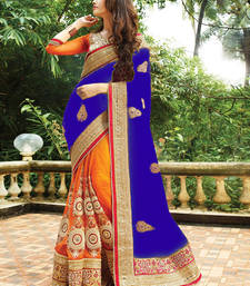 Buy Blue and orange embroidered georgette and nylon net saree with blouse wedding-saree online