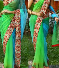 Buy Green embroidered net saree with blouse heavy-work-saree online