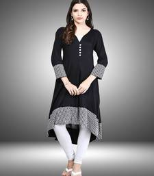 Buy Black printed rayon party-wear-kurtis party-wear-kurti online