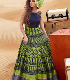 Buy Green embroidered bhagalpuri cotton semi stitched salwar with dupatta semi-stitched-salwar-suit online
