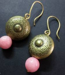 Buy Antique_Golden_Pink_Agate_Earrings danglers-drop online