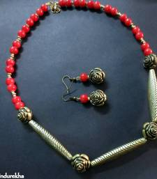 Buy Red_Antique_Pipes_Rose_Set Necklace online