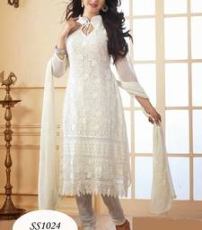 Buy White Designer Anarkali  Suits anarkali-salwar-kameez online