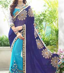 Buy Blue women's embroidered faux-georgette designer saree with blouse heavy-work-saree online