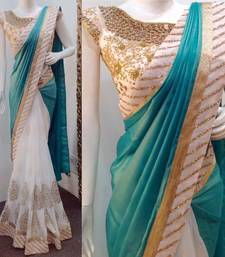 Buy blue embroidered silk saree with blouse wedding-saree online