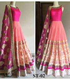 Buy MERT INDIA Pink crepe embroidered semi stitiche gown (premium quality )  party-wear-gown online