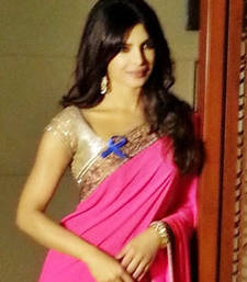 Buy Priyanka Chopra Bollywood Replica Pink Georgette Saree priyanka-chopra-saree online