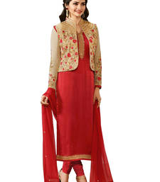 Buy Red embroidered chiffon unstitched salwar with dupatta dress-material online