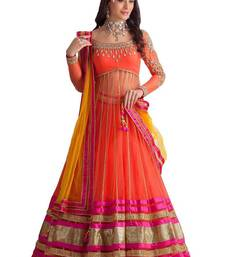 Buy Orange embroidered Georgette  lehenga-choli ghagra-choli online