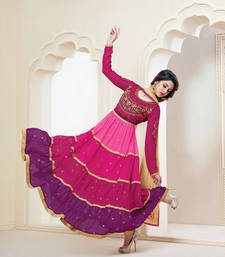 Buy Splendid Pink Anarkali Salwar Suit semi-stitched-salwar-suit online