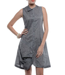 Buy Women's Designer Grey Mangalgiri Shirt Dress dress online