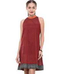 Buy Women's Designer Maroon Mangalgiri Dress With Printed Border dress online