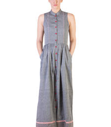 Buy Women's Designer Grey Mangalgiri Maxi With Red Details dress online