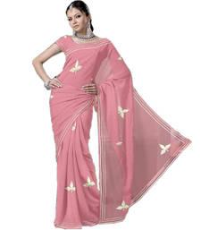 Buy Embroidered Designer Pure Super Net Peach Sari 197 cotton-saree online