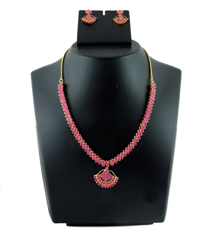 buy ruby stone necklace set online