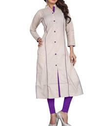 Buy silver plain cotton stitched kurti party-wear-kurti online