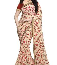 Buy Cream printed bhagalpuri silk saree with blouse bhagalpuri-silk-saree online