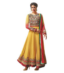 Buy Hypnotex Yellow Georgette Dress Material Flower15 dress-material online