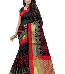 Buy Black woven jacquard saree with blouse ethnic-saree online