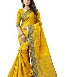 Buy Yellow woven banarasi saree with blouse banarasi-saree online