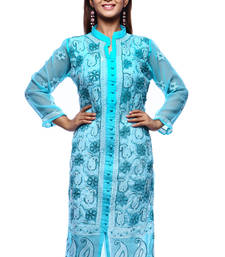 Buy Blue embroidered georgette kurtas-and-kurtis chikankari-kurti online