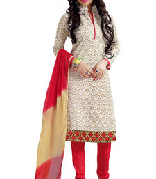 Buy White embroidered chanderi unstitched salwar with dupatta dress-material online