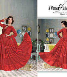 Buy Red embroidered net  semi stitched salwar with dupatta semi-stitched-salwar-suit online